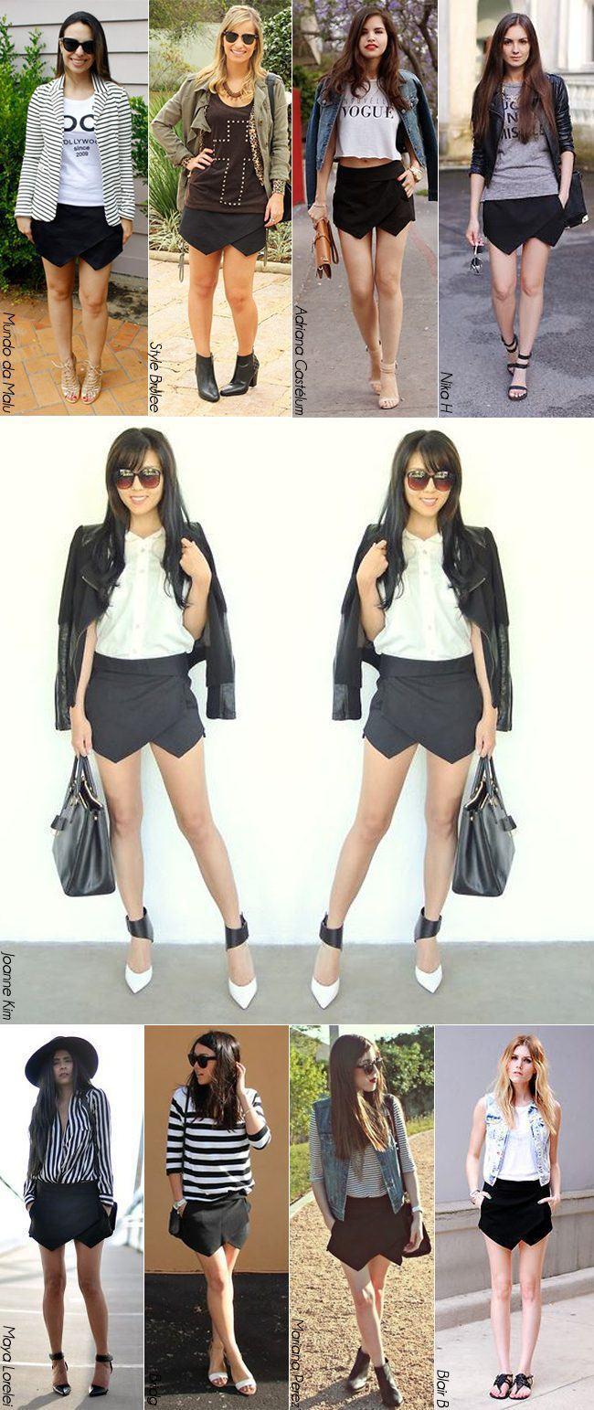 shorts saia assimetrica preta